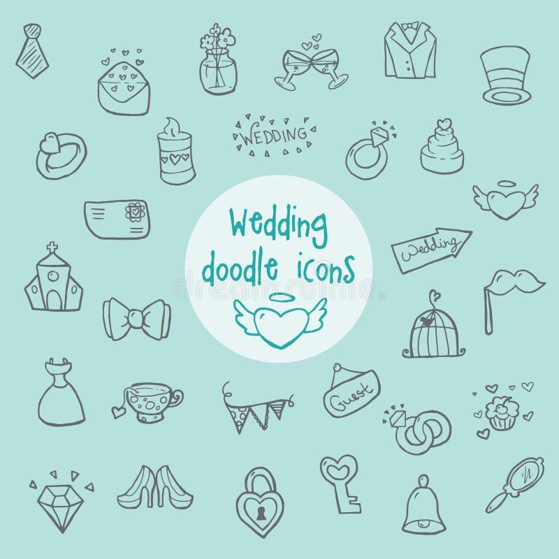 Wedding doodle icons royalty free stock image