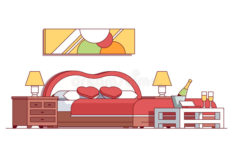 Wedding double bed bedroom hotel room suite. Interior. Champagne bottle in ice bucket, glasses, heart shaped pillows, red blanket waiting newlywed couple. Flat stock illustration