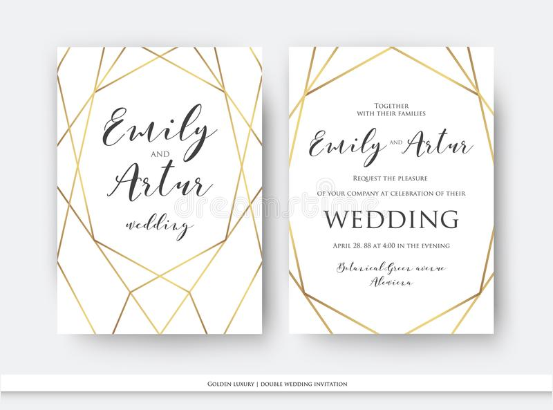 Wedding double invite, invitation save the date card elegant design with luxury vector golden foil geometrical, linear decorative vector illustration