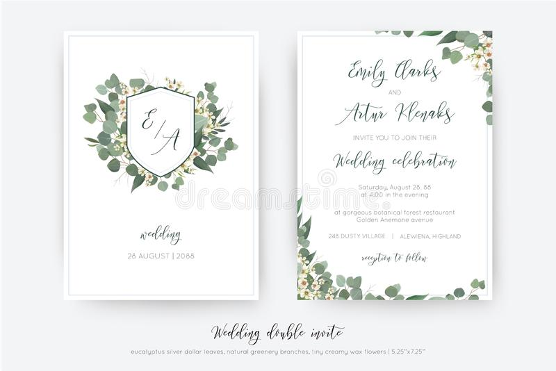 Wedding double invite, invitation, save the date card floral design. Botanical monogram: creamy wax flower, Eucalyptus green stock illustration