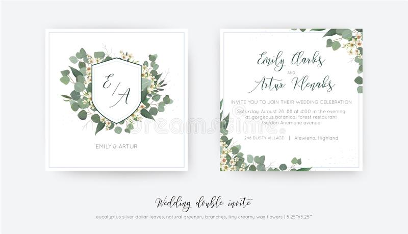 Wedding double invite, invitation, save the date card floral design. Elegant monogram with silver dollar eucalyptus greenery royalty free stock image