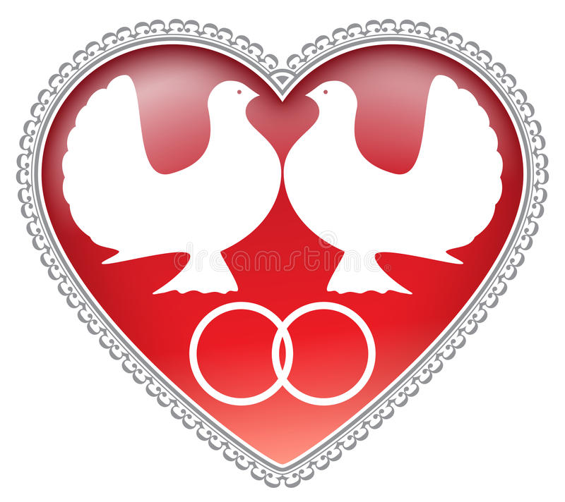Wedding doves (vector) royalty free stock image