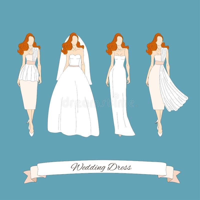 Wedding draw dresses set. stock vector. Illustration of boutique ...