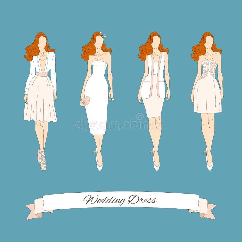 Wedding draw dresses set. stock vector. Illustration of female ...