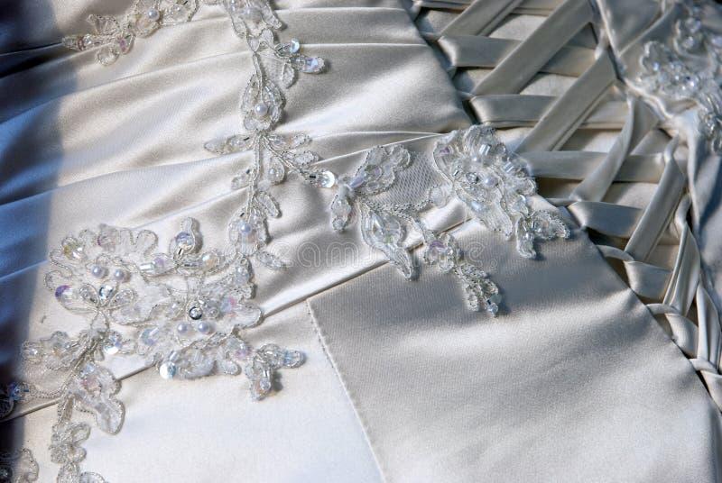 Wedding dress. A detail of a wedding dress royalty free stock image
