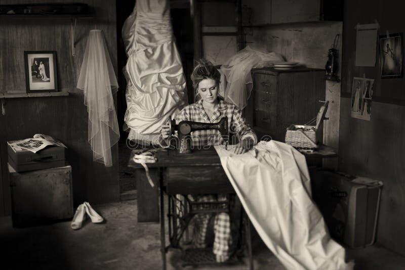 Download Wedding Dress stock image. Image of woman, sewing, dressmaker - 27942865