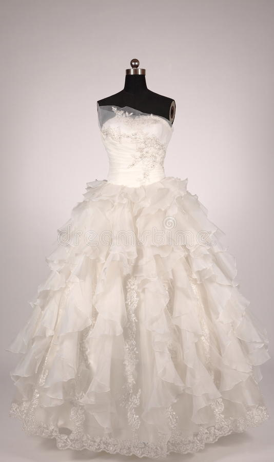 Wedding dress. The wedding dress the bride dressed in western style wedding ceremony and wedding reception stock image