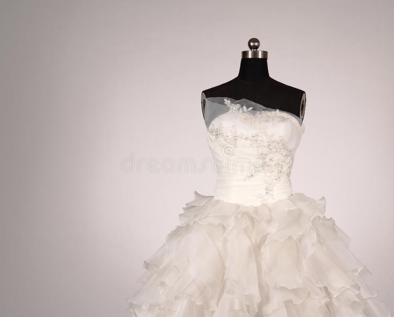 Wedding dress. The wedding dress the bride dressed in western style wedding ceremony and wedding reception royalty free stock photo