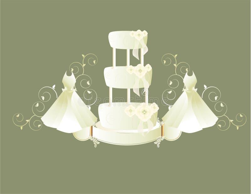 Wedding dress and cake gray background stock illustration