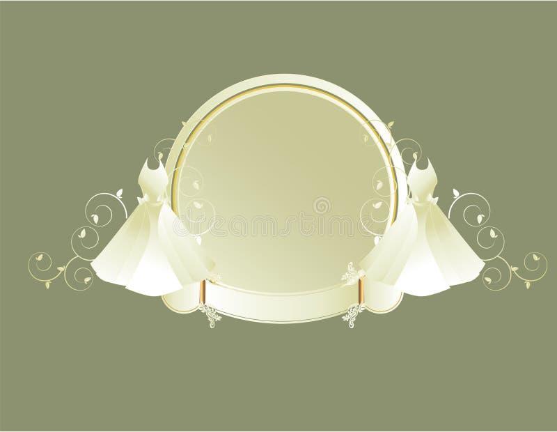Wedding dress circular frame gray background royalty free illustration