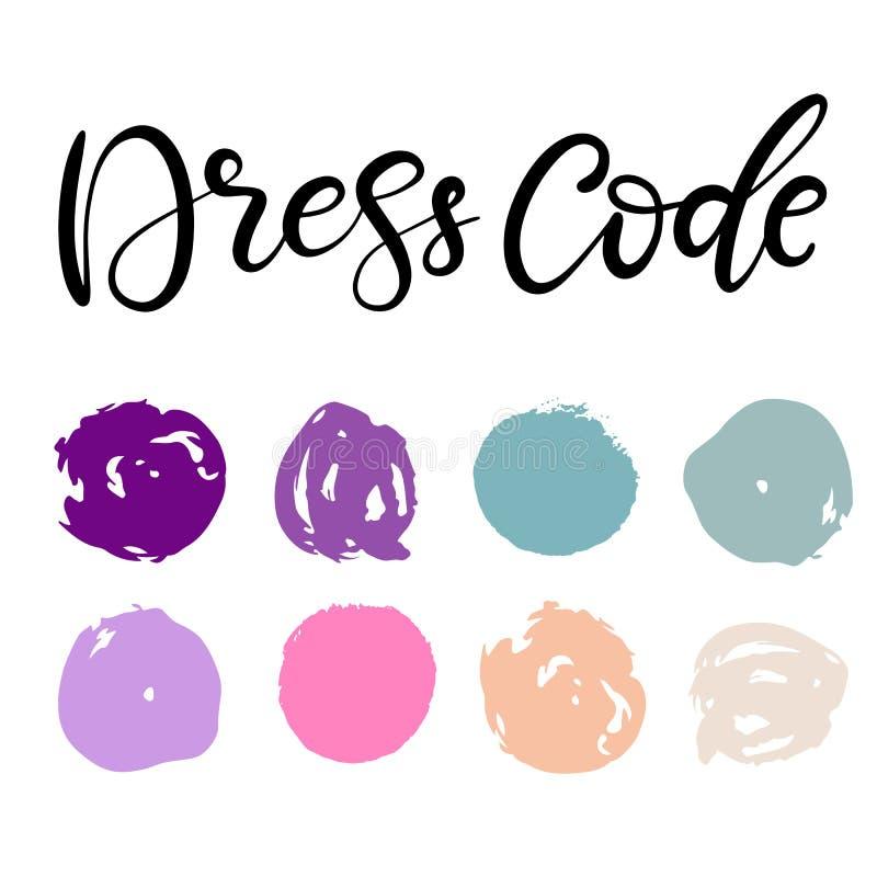 Wedding dress code color palette royalty free illustration