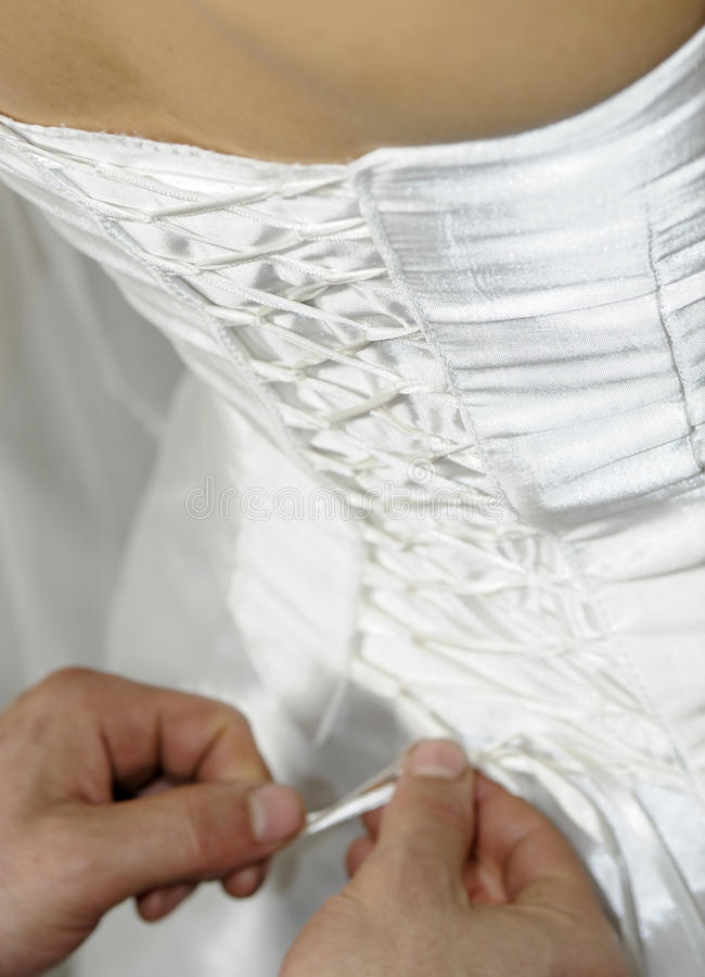 Wedding dress corset. Bride dress stock photos