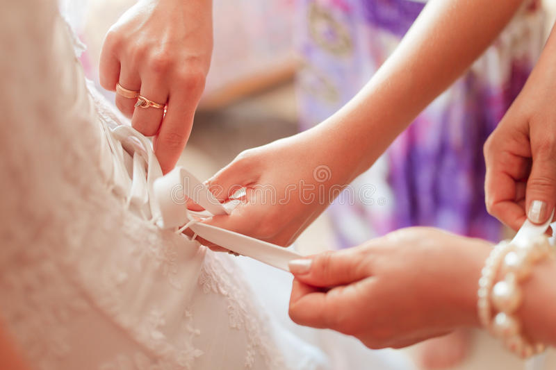 Wedding dress corset. Bride dress royalty free stock photography