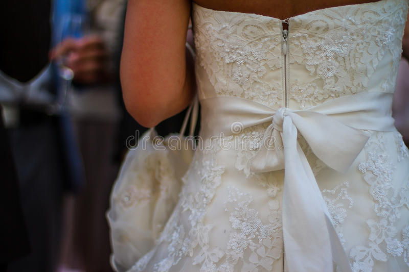Wedding dress detail. Beautiful Detail of wedding dress stock photography