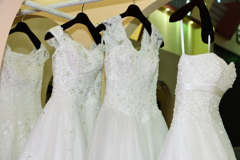 The wedding dress. The different styles of wedding dress stock photography