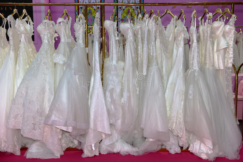 The wedding dress. The different styles of wedding dress royalty free stock images