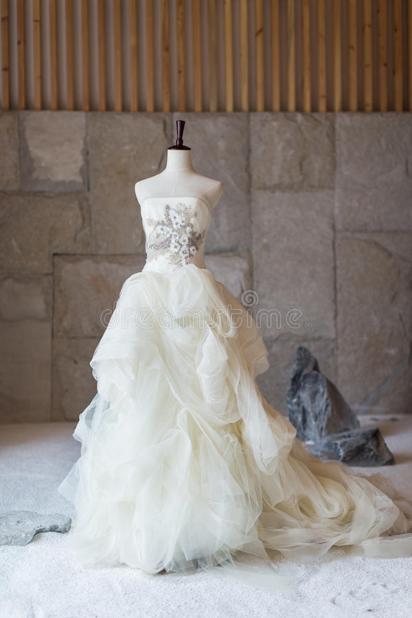 Wedding dress. On display, perpared for the bride royalty free stock photo