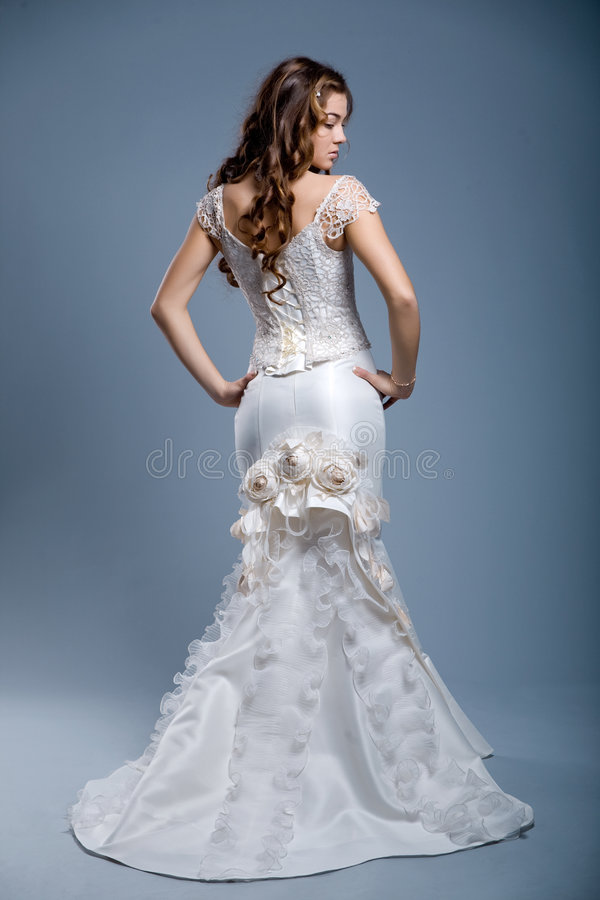 Wedding dress on fashion model royalty free stock photo