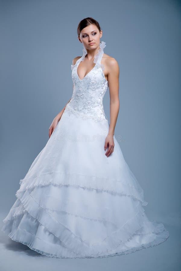 Wedding dress on fashion model royalty free stock images