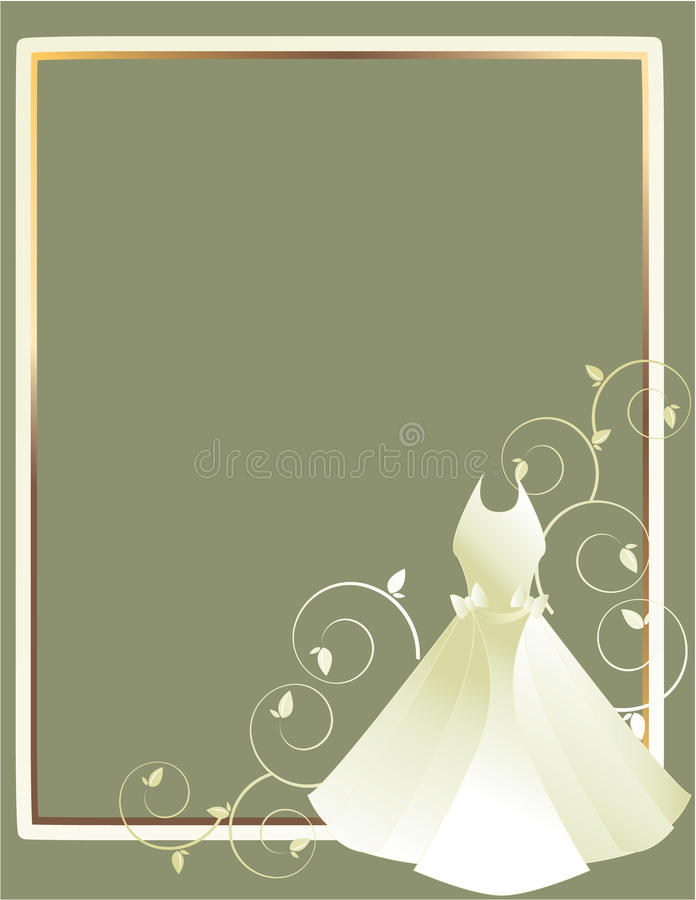 Wedding dress frame gray background vector illustration