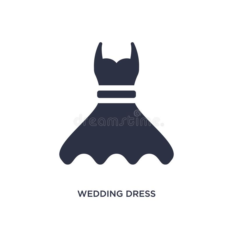 wedding dress icon on white background. Simple element illustration from birthday party and wedding concept royalty free illustration