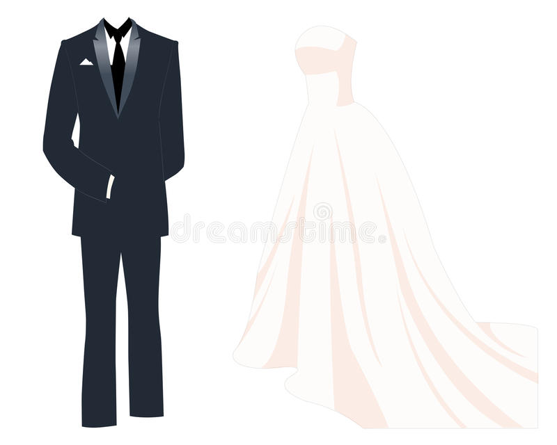 Wedding Dress stock vector. Illustration of suit, veil - 40659760