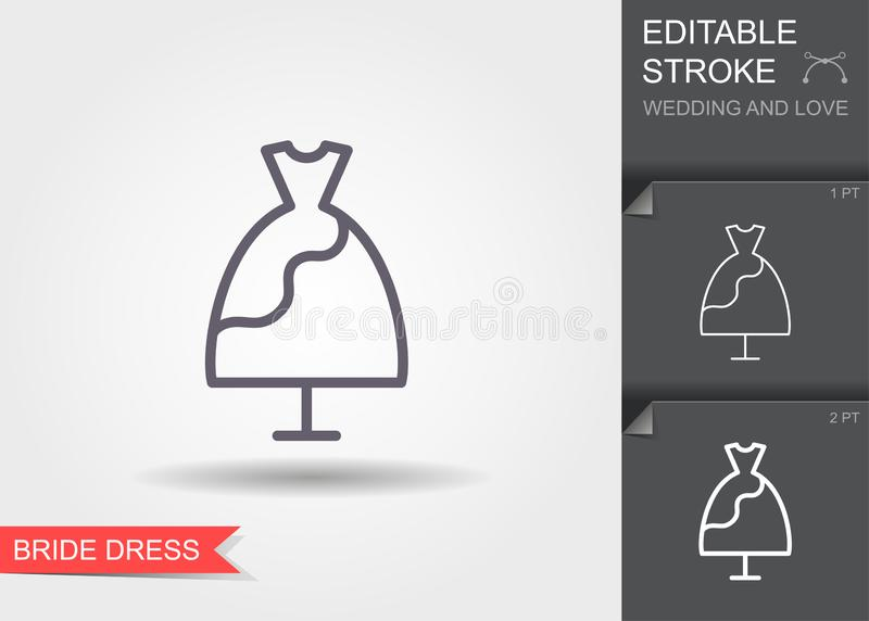 Wedding dress. Line icon with shadow and editable stroke royalty free illustration
