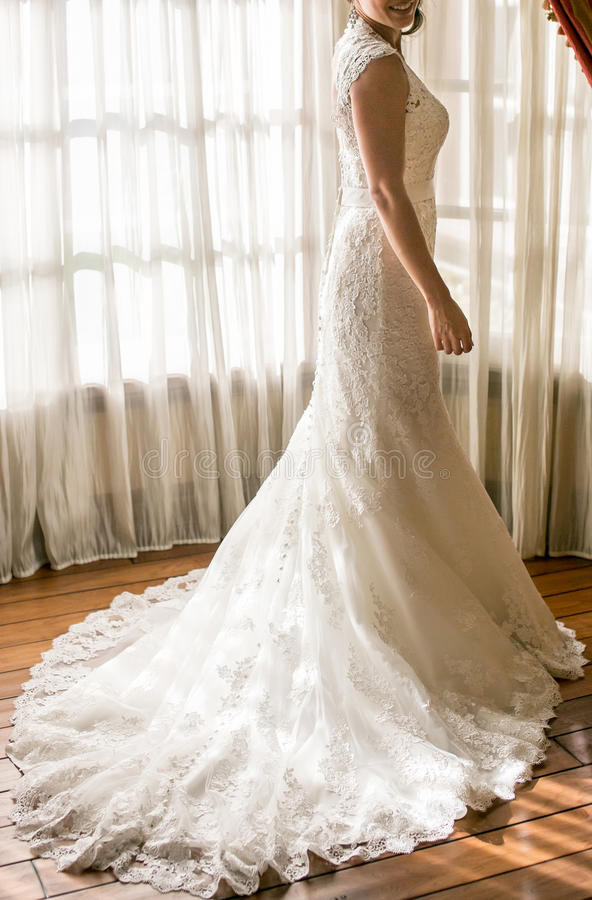 Wedding dress. On a mannequin stand royalty free stock photography