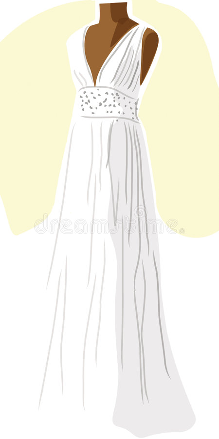 Wedding dress on mannequin - yellow royalty free stock photography