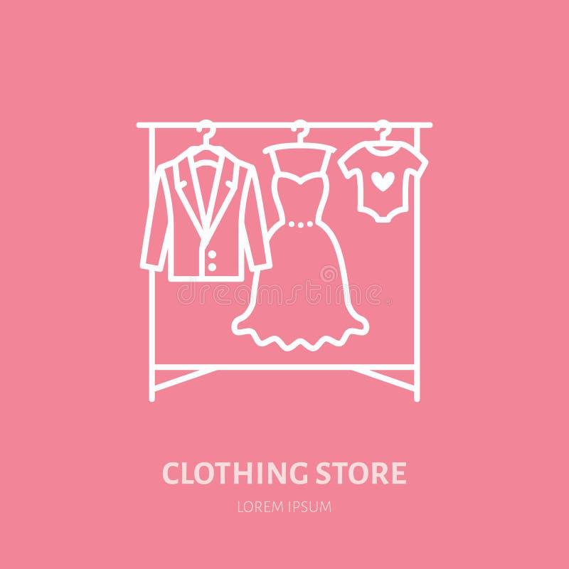 Wedding dress, men suit, kids clothes on hanger icon, clothing shop line logo. Flat sign for apparel collection stock illustration