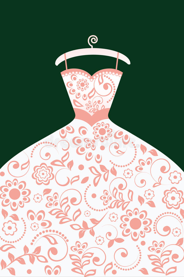 Wedding dress with pattern stock illustration