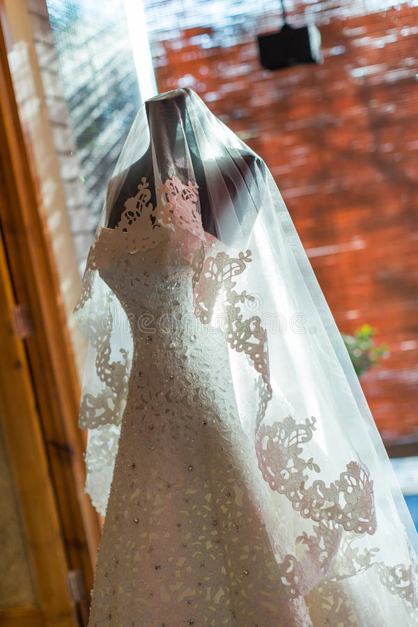 Wedding dress. Perpared for the bride royalty free stock photo