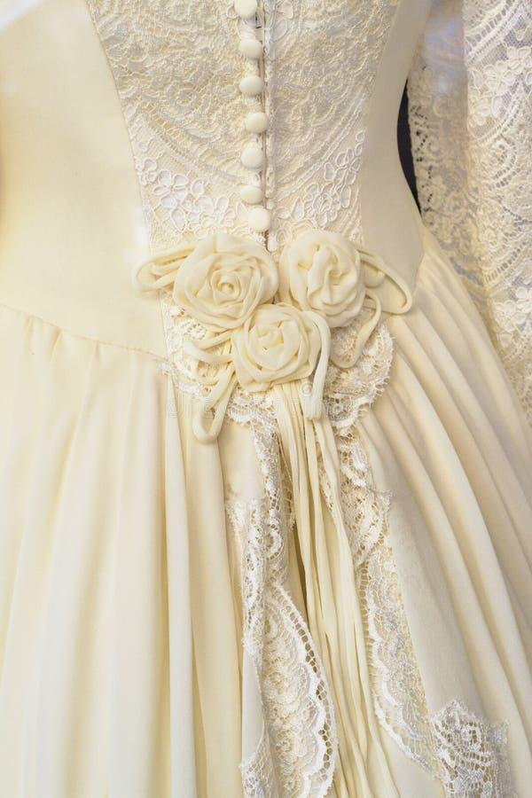 Wedding dress. Romantic wedding dress, White and embroided stock image