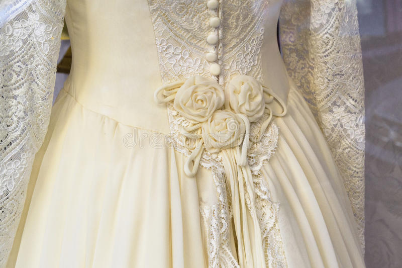 Wedding dress. Romantic wedding dress, White and embroided stock photo