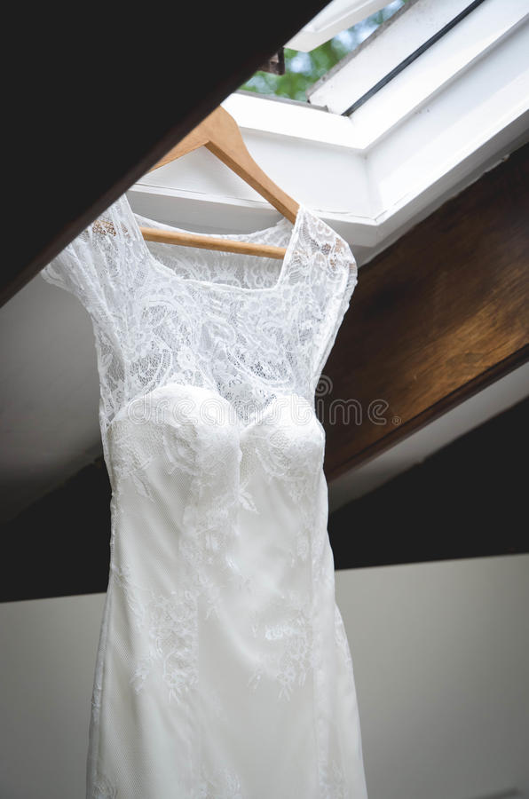 Wedding dress in roof stock photography