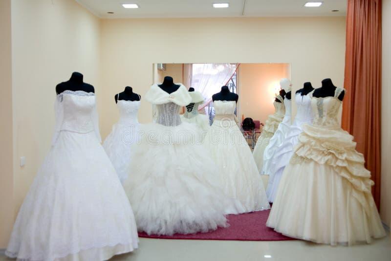 Wedding dress saloon stock photos