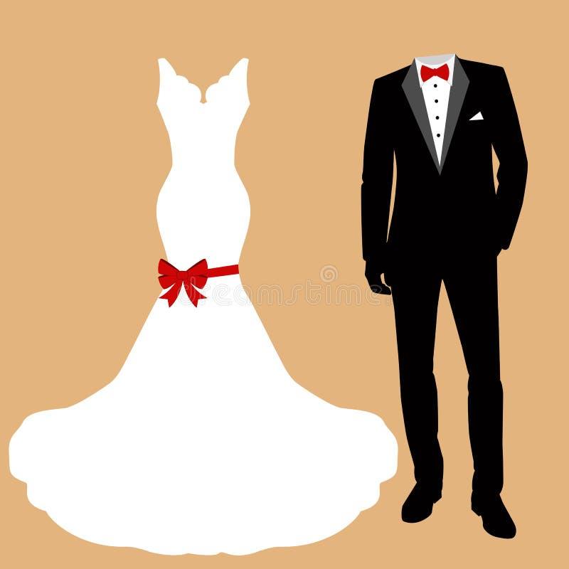 Wedding dress and tuxedo. stock image