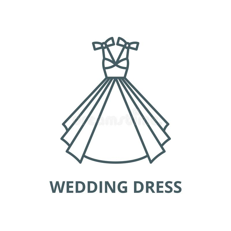 Wedding dress vector line icon, linear concept, outline sign, symbol royalty free illustration