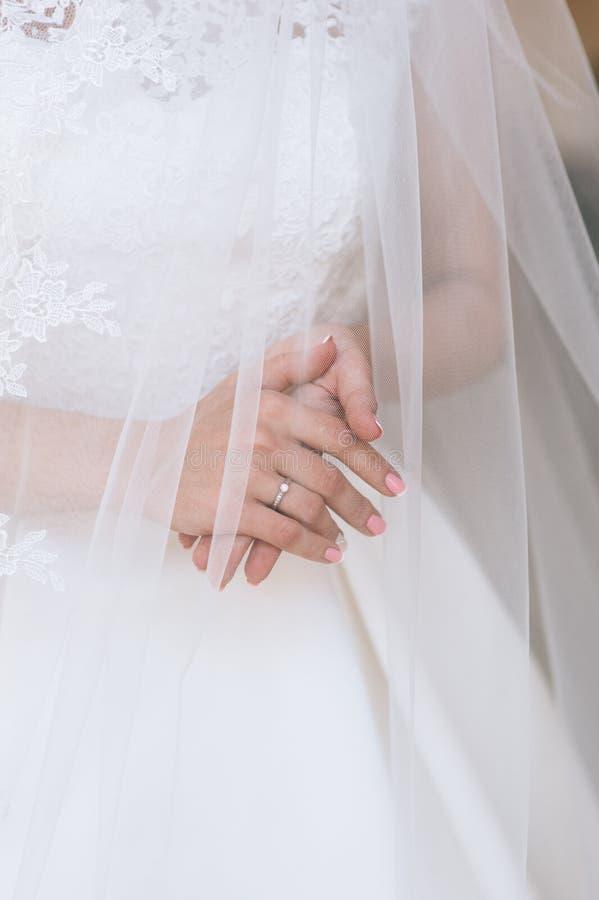 Wedding dress, wedding rings royalty free stock photo