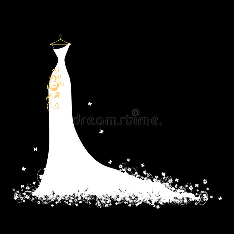 Download Wedding Dress White On Hangers Stock Vector - Illustration: 14429438