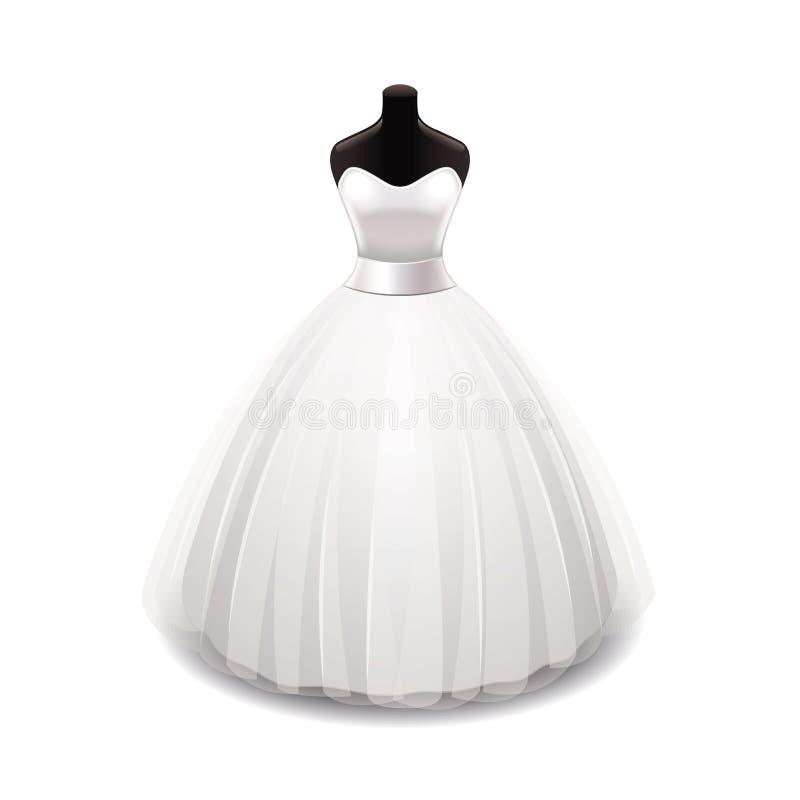 Wedding dress on white vector stock illustration