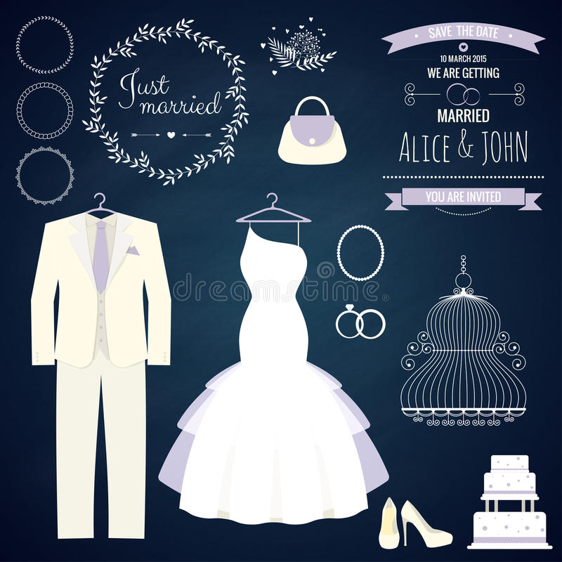 Free Wedding Dresse And Groom Suit With Different Stock Image - 50771991