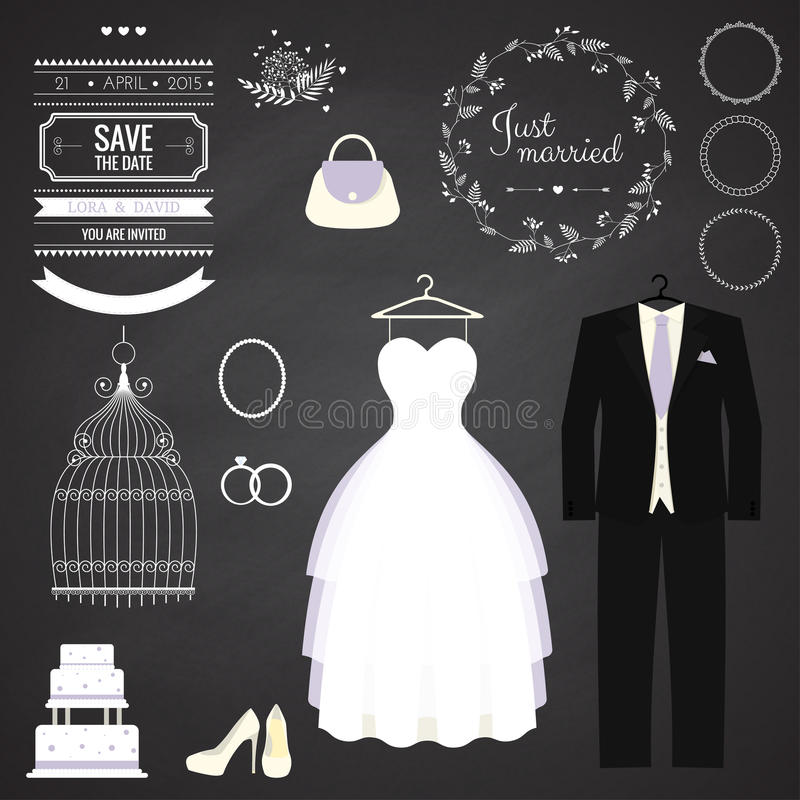 Free Wedding Dresse And Groom Suit With Different Stock Photo - 50772000