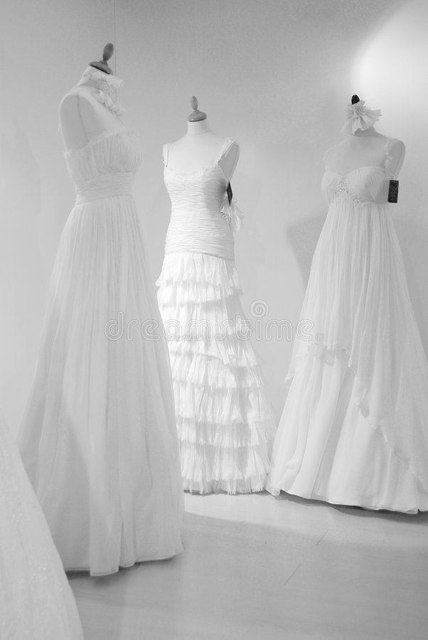 Wedding dresses. Waiting for the brides royalty free stock image