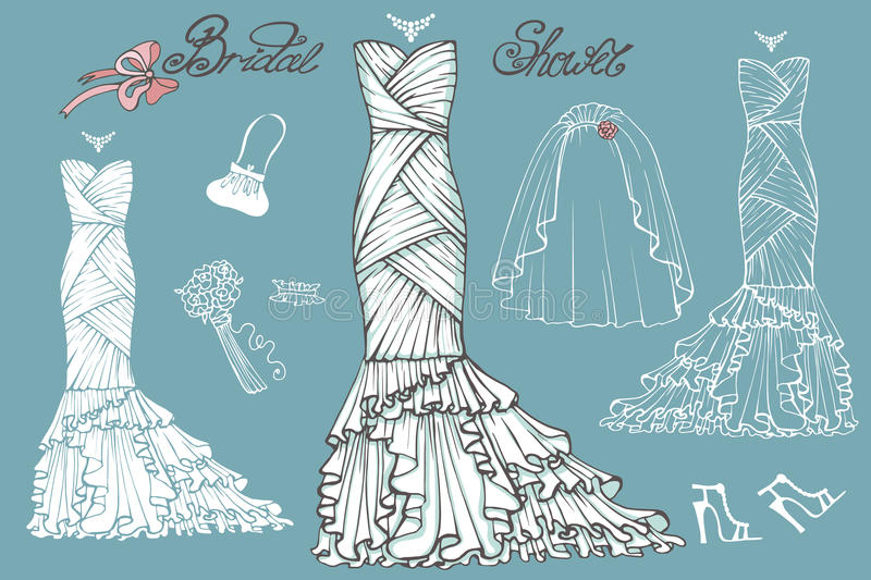Wedding Dresses And Accessories Set.Vintage Bridal Stock Vector ...