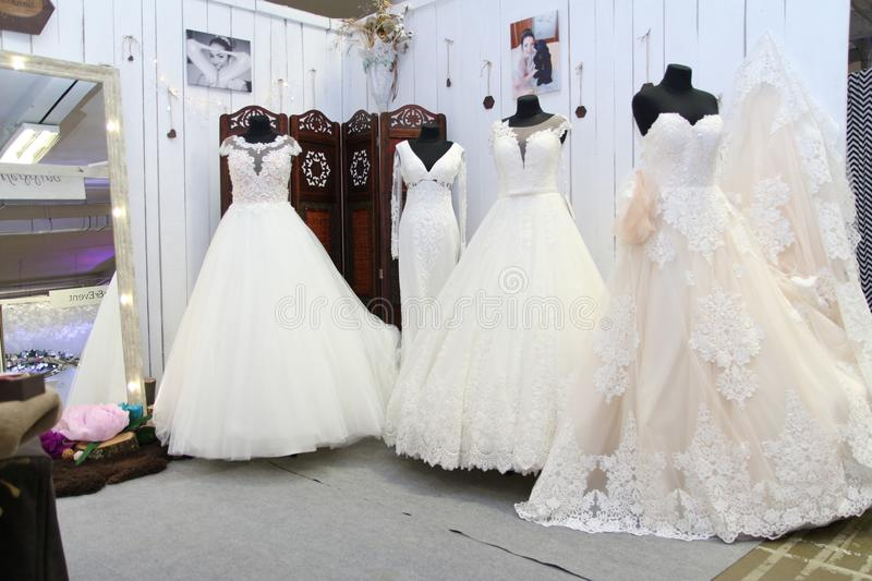 Wedding dress. Es exhibition, wedding festival, everything for bridesn stock photo