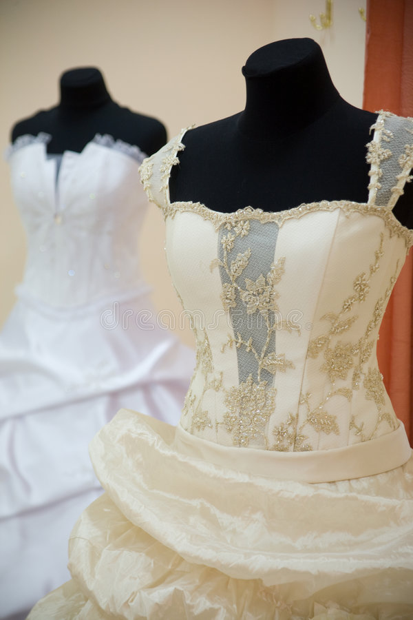 Wedding dresses on mannequins royalty free stock image