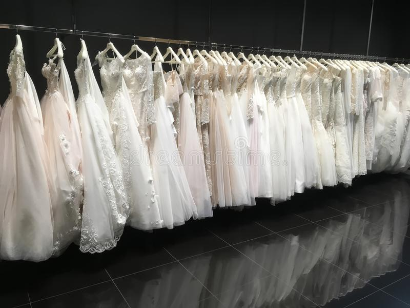 Wedding dresses in the store Pollardi royalty free stock images
