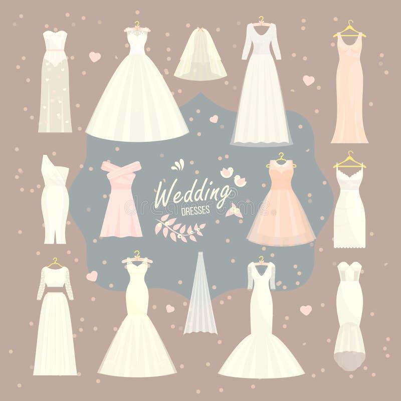 Wedding Dresses Vector Set Bride And Bridesmaid White Wear Dressing ...