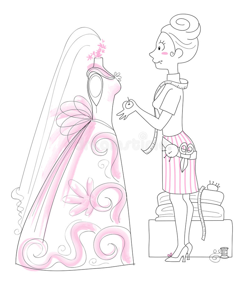 Wedding Dressmaker. Vector illustration of a dressmaker working on the design of a wedding gown stock illustration